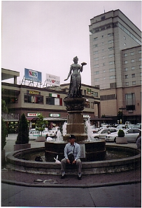 The fountain in back of Nagano Station.